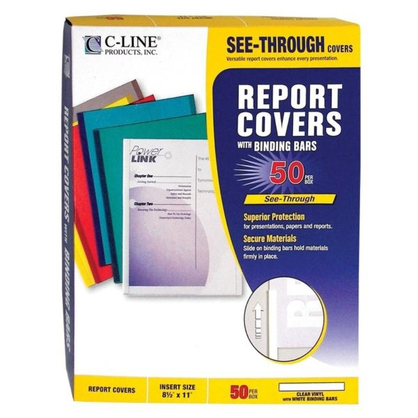 C-Line Report Covers with Binding Bars, Economy Clear Plastic, White Bars, 8.5 x 11 Inches, 50 per Box (32457)