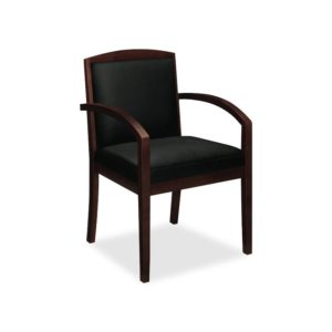 Wood Guest Chair, Black Leather Upholstery w/Mahogany Veneer HON VL853NSP11