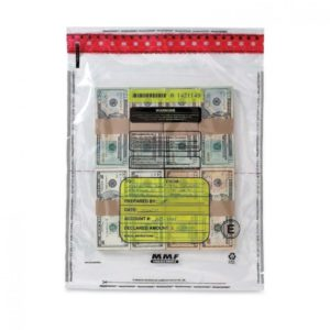 MMF Industries Tamper-Evident Cash Bags, 15 x 20 Inches, Clear, 5 packs of 50 Bags per Box