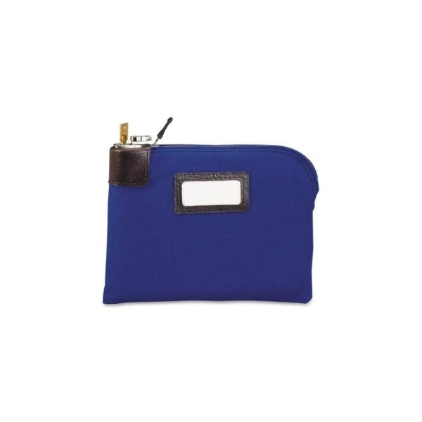 "Currency Bags w/ Built-in Locks-Lock Bag, Name Tag Holder, Navy Nylon, 11""x8-1/2"", Blue"