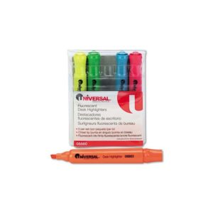 UNIVERSAL 8860 Desk Highlighter, Chisel Tip, Fluorescent Colors, 5/Set