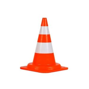 Traffic Cone, 18in, Fluorescent Red/Orange