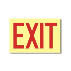 "EXIT sign 12"" x 8"" - Self-Adhesive Vinyl Glow-In-The-Dark Signs - G112"