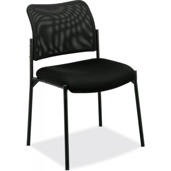 Basyx VL506MM10 VL506 Stacking Guest Chair, Mesh Back, Padded Mesh Seat, Black