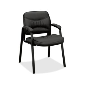 Basyx by HON VL643ST11 Leather Guest Leg Base Chair, Black