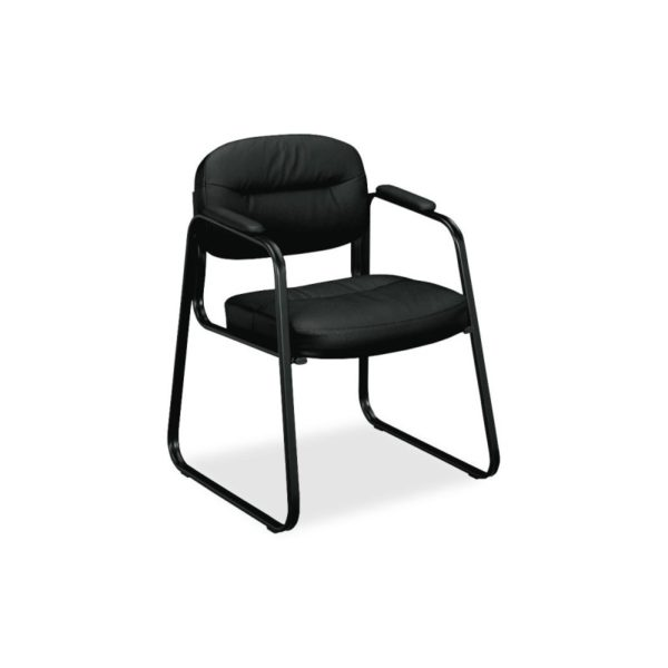 Basyx by HON VL653ST11 Leather Guest Chair, Black