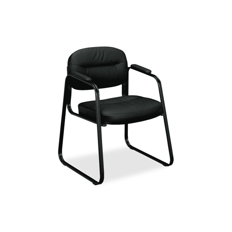 Basyx By Hon Leather Guest Chair Black Vl653st11