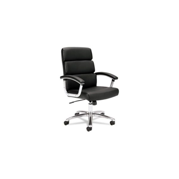 VL103 Executive Mid-Back Chair, Black Leather - VL103SB11