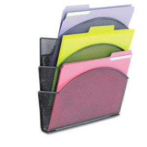 Safco Products 4175BL Onyx Mesh Magnetic Triple File Pocket, Letter Size (Qty. 1), Black