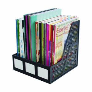 Advantus 3-Compartment Magazine and Literature File, Black (34091)