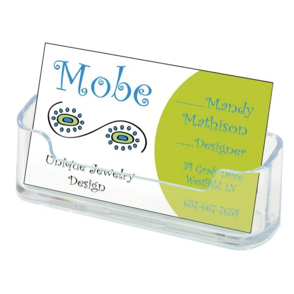 """Deflecto Business Card Holders Single Compartment, Clear, 3-3/4""""W x 1-7/8""""H x 1-1/2""""D (70101)"""