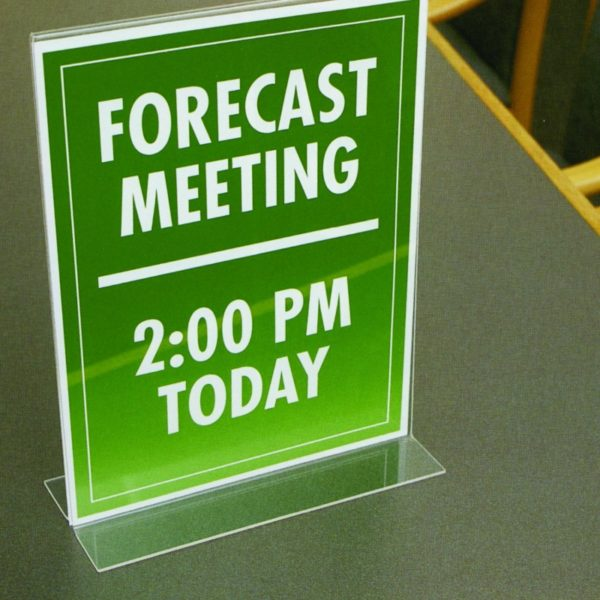 "NuDell 4"" x 6"" Table Top Double Sided T-Base Freestanding Sign Display Frame, Clear"