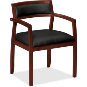 Basyx by HON VL852NST11 VL852 Slim Black Leather Guest Side Chair