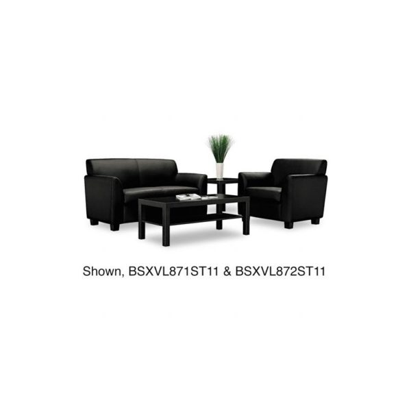Basyx VL872ST11 53-1/2 by 28-3/4 by 32 Tailored Leather Reception 2-Cushion Loveseat, Black