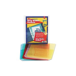 Cardinal - Ring Binder Poly Pockets, 8-1/2 x 11, Assorted Colors, 5 Pockets/Pack 84007