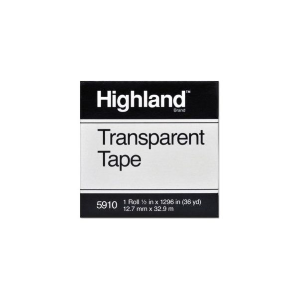 """Highland Transparent Tape, 1/2"""" x 1296"""", 1"""" Core, Clear"""