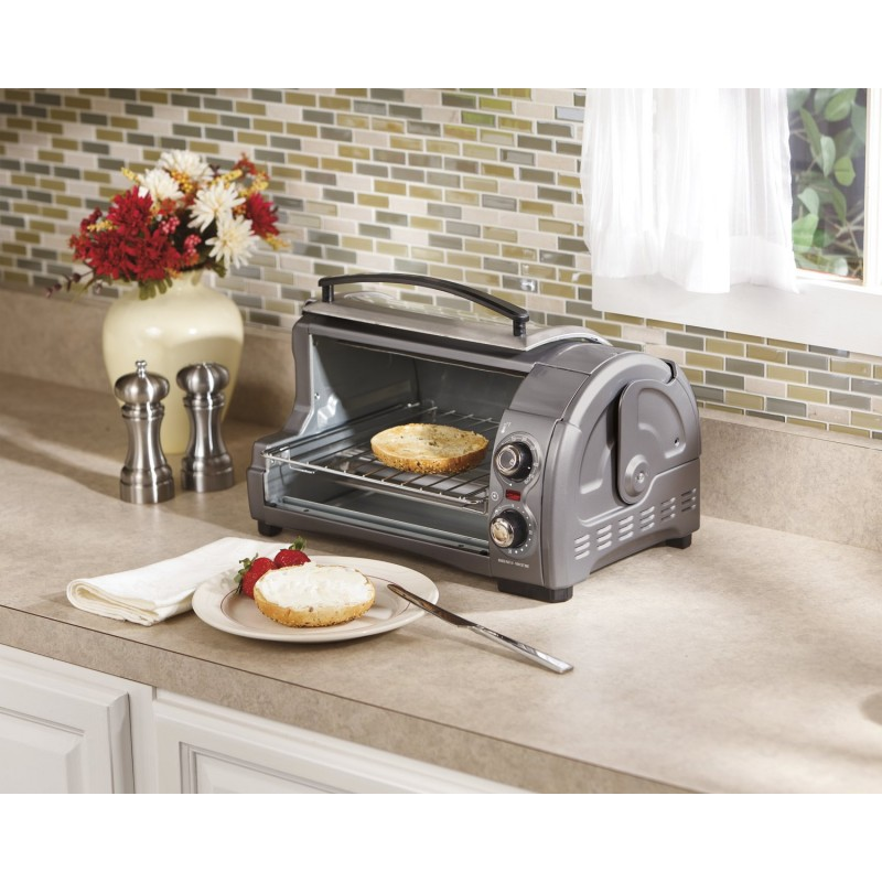 Hamilton beach easy reach toaster oven metallic 31334 for Oven cleaner on kitchen countertops