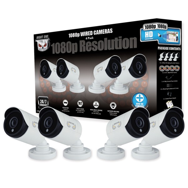 4 Pack Add On 1080p Hd Wired Security Bullet Cameras