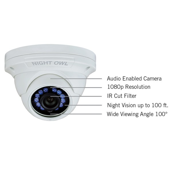 1 Pack Add On 1080p Hd Wired Security Dome Camera Audio